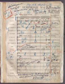 Willem Mengelberg, directiepartituut/conducting score Vierde Symfonie van Gustav Mahler. Nederlands Muziek Instituut