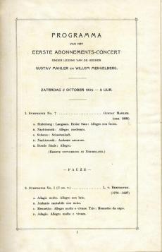 Eerste Nederlandse uitvoering van de Zevende Symfonie van Gustav Mahler op 2 oktober 1909 in Den Haag. Nederlands Muziek Instituut