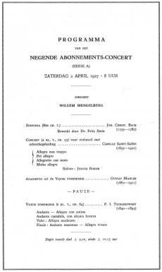 Programma van het abonnementsconcert op 2 april 1927