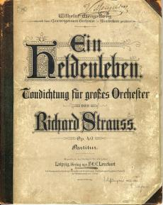 Omslag van 'Ein Heldenleben' van Richard Strauss met de opdracht aan Mengelberg en het Concertgebouworkest. Nederlands Muziek Instituut