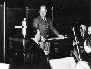 Willem Mengelberg en Paul Hindemith tijdens de orkestrepetitie in het Concertgebouw, december 1937
