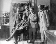 Concertgebouw Amsterdam, v.l.n.r. Cornelis Dopper, Gustav Mahler, H. Freijer, Willem Mengelberg, Alphons Diepenbrock