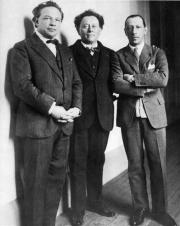 Ottorino Respighi, Willem Mengelberg, Igor Stravinsky, Amsterdam 1926. Bron: Nederlands Muziek Instituut